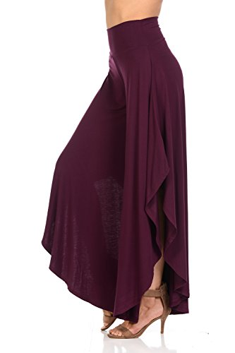 Women's Solid Long Pants Flowy Wide Leg Palazzo Pants Fold Over Side Slit S-Plus Sizes (Large, Plum)