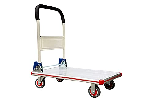 Aluminum Folding Cart with Wheels - Platform Truck - Weight Capacity 400lbs - Compact Foldable Cart for Warehouse, Restaurant, Shops Factories and Home - Flatbed Cart with 4 PU Wheels