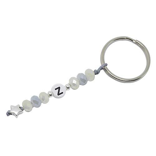 Sleutelhanger met letters en geslepen glazen kralen in crème, grijs, zilver handgemaakt met ster