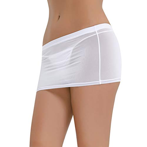 ACSUSS Sexy Women's Sheer See Through Low Waist Micro Mini Skirts Pencil Skirt White One Size