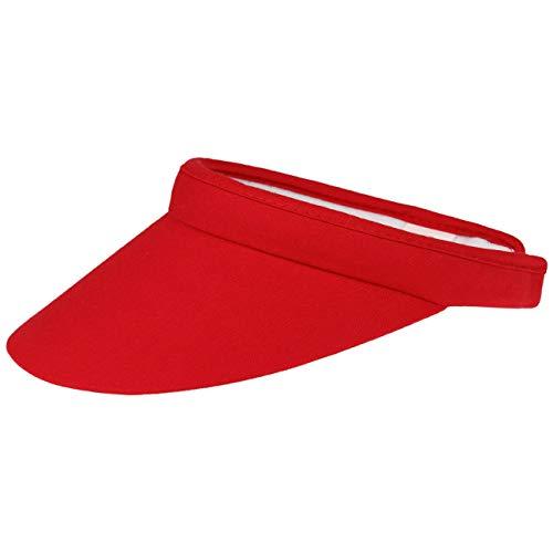Lipodo Damen Visor - Sport Cap mit Schirm in One Size (54-60 cm) - unifarbene Sonnenblende aus 100% Baumwolle mit Frotteeband - Sonnencap Frauen Golf, Tennis oder Freizeit - Sommer rot One Size