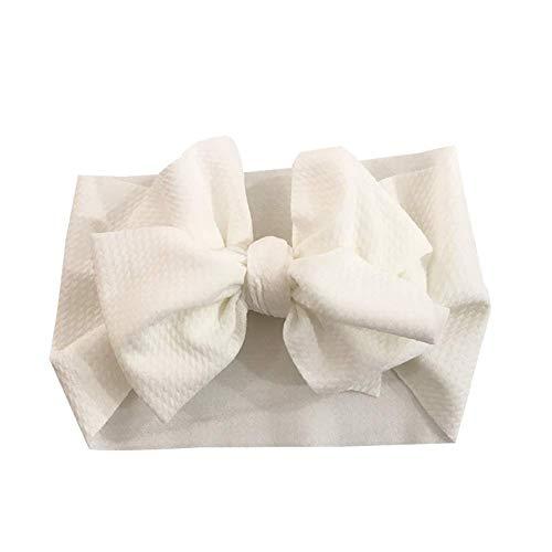 Geagodelia Turban Baby Mädchen Neugeboren Stirnband Haarband Knoten Mütze Sommer Stretch Schleife Headwear Kleinkind (Weiß Schleife, OneSize)