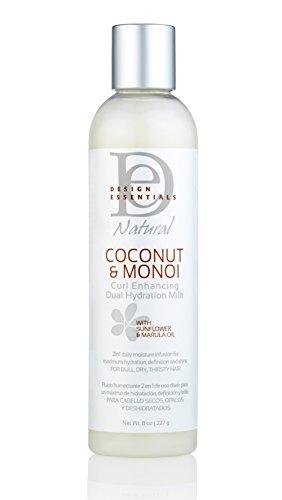 Design Essentials Natural Curl Enhancing Dual Hydration Repairative Coconut Milk w/Sunflower & Marula Oil-Coconut & Monoi Collection, 8oz.