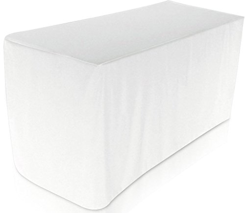 Utopia Kitchen Fitted Tablecloth - 6 Feet - Rectangular Table Cover - Fitted 30 x 72 Inches - 100 Percent Polyester (White, Single)