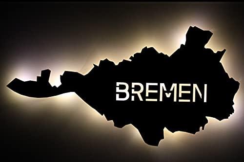 Luz nocturna LED 'Bremen' personalizable, con texto 'Bremen' grabado láser para dormitorio, salón, regalo