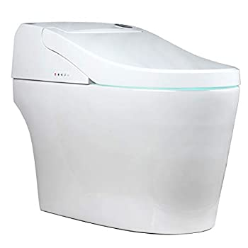 EUROTO EUT3828 [Newest 2021] One-Piece Dual Flush Integrated Bidet and Toilet,Luxury auto Open and Close lid Heated seat Warm Dryer and air Deodorizer White