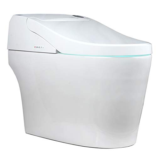 EUROTO EUT3828 [Newest 2021] One-Piece Dual Flush, Integrated Bidet and Toilet,Luxury auto Open and Close lid Heated seat, Warm Dryer and air Deodorizer, White