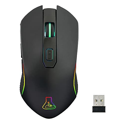 THE G-LAB Kult Xenon Wiederaufladbare kabellose Gaming-Maus - Kabellose Hochleistungs-Gaming-Maus mit 5000 DPI, RGB-LED, 6 Tasten, Dedizierte Software, Leichter und Schneller - PC, PS4, Xbox One