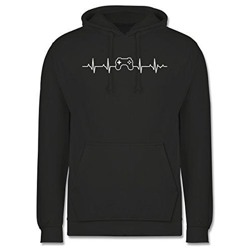 Shirtracer Nerds & Geeks - Herzschlag Gaming Controller - 3XL - Anthrazit JH001 - Herren Hoodie und Kapuzenpullover für Männer