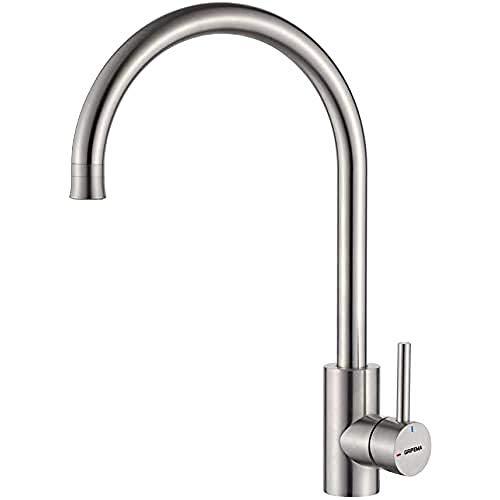 GRIFEMA G4008-1 Irismart, Küchenarmatur mit Hand Dusche, Kaltstart-Spültischarmatur, Edelstahl, GRAU [Exklusiv bei Amazon]