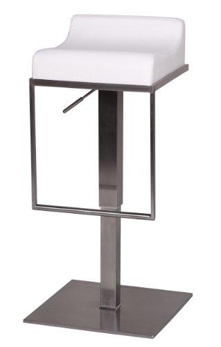 Wohnling Edelstahl Barhocker Durable M5, Edler Gastro Barstuhl Sitzfläche gepolstert, Exklusiver Design Tresenstuhl mit Fußstütze Standfest, Sitzhöhe 59-84 cm Höhenverstellbar, weiß
