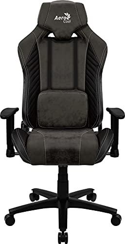 Aerocool BARONBK, Silla Gaming, AeroSuede Transpirable, respaldo Ajustable, Negro
