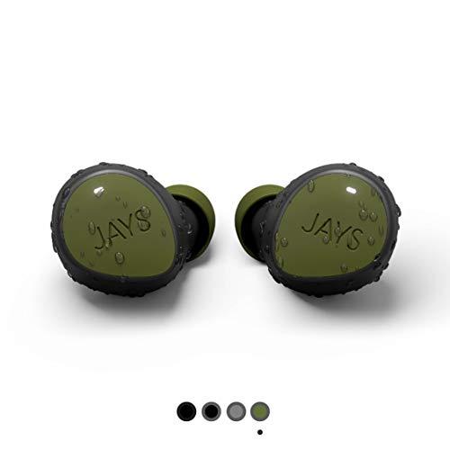JAYS Bluetooth koptelefoon in oor - m-Seven - Groen - Echte Draadloze Sport Earpods koptelefoon tot 38h batterijduur geschikt voor iOS & Android