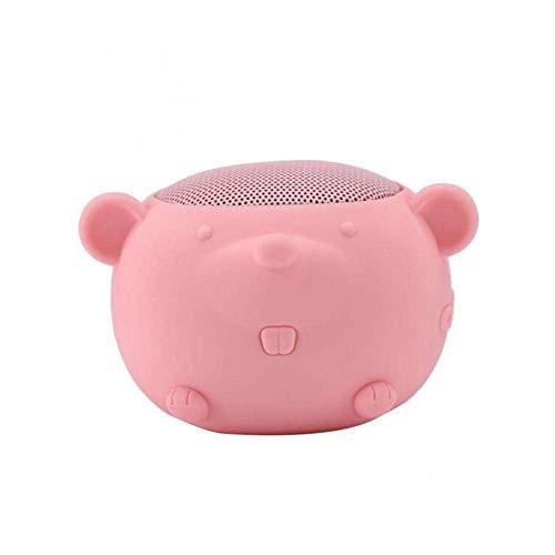 WOHAO Medios Dispositivo de Streaming Forma Tarjeta Mini Bluetooth Altavoz Creativo Pequeño ratón inalámbrico Bluetooth 5.0 Altavoz portátil (Color : Pink)