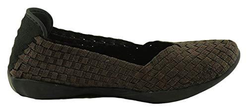 B M BERNIE MEV NEW YORK Women's Catwalk Flat Balerina mit Memory Foam, ultraleichte Sohle, jeden Tag das ganze Jahr, mit dem beliebten elastischen Flechtmuster, Brown - Braun metallisch - Größe: 37 EU