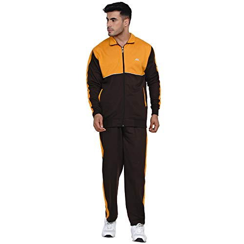 Fabnest Men's Fleece Winter Yellow and Brown Casual and Workout Fleece Track Suit Set with Piping Design