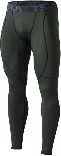 TSLA Men's Thermal Compression Pants, Athletic Sports Leggings & Running Tights, Wintergear Base Layer Bottoms, Heatlock Olive, Small