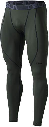 TSLA Thermale Kompressionsunterwäsche Wintergear Sport-Leggings mit Fleece-Futter für Herren, Yup53 1pack - Olive, M