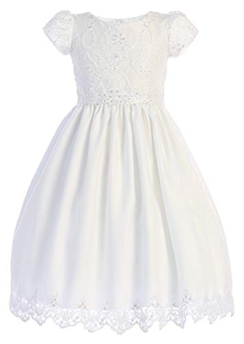 First Communion Dresses for Girls 7-16 1st Plus Size Teens Tea Length Sleeves White (Size 7)