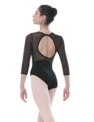Dance Favourite ¾ Length Mesh Sleeve Deep V Front with Open Back O Shape Leotards 01D0205 (M)