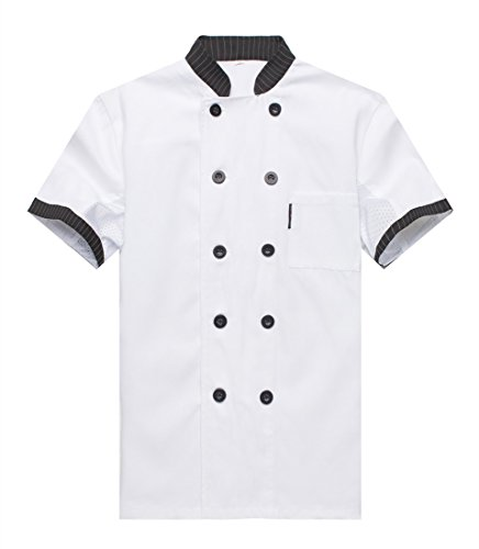 WAIWAIZUI Chef Jackets Waiter Coat Short Sleeves Underarm Mesh White, XXXL/(label 5XL)