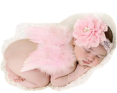 Newborn Baby Photography Props Angel Feather Wings Set (Pink)
