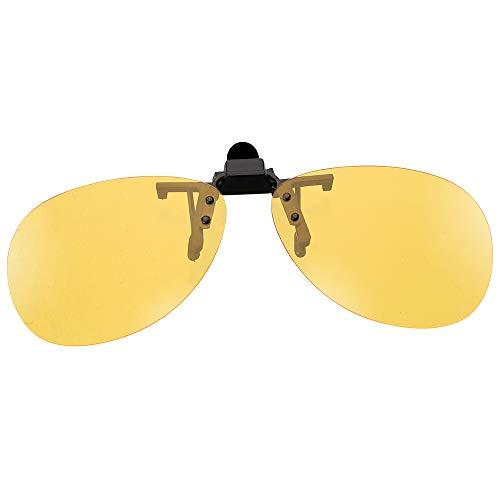 NOPNOG Auto polarisierte Sonnenbrille, Fahrerbrille, aufsteckbare Brille, Anti-UVA (Gelb für Nachtsicht)