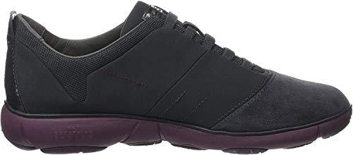 Geox D NEBULA G, Damen Low-top Sneakers, Grau (Dk Grey/Prune), 36 EU