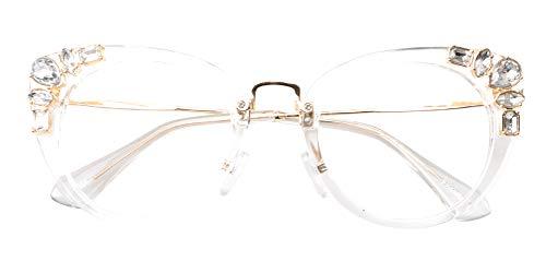 SOOLALA Womens Luxurious Colorful Rhinestone Cateye Reading Glasses Eyeglass Frame, Trans, ClearLens