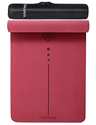 YAWHO Yoga Mat Fitness Mat Specifications 72'' x 26'' Thickness 1/4-Inch Eco Friendly Material SGS Certified Ingredients TPE Extra Large Non-Slip Exercise Mat with Carry Bag (Red)
