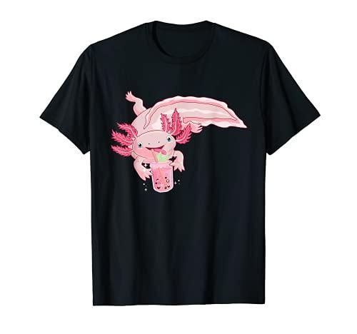 Lindo ajolote Beber té de Boba Té de burbujas kawaii Anime Camiseta