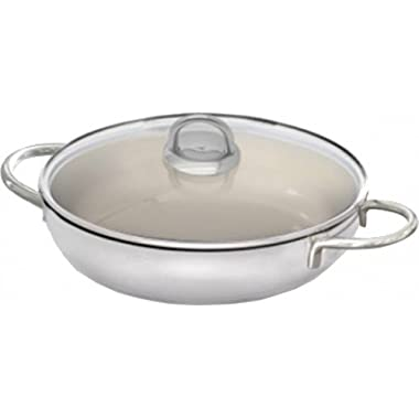 Elo Cookware 90198 Pure Rubin Serving Pan with Glass Lid, 11 , Silver