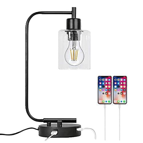 Lámpara De Noche con 2 Puertos USB, Control De Interruptores De Rotación Regulable Y Rotatorio, Pantalla De Cristal, Bombilla LED Incluida, para Dormitorio, Sala De Estar (Color : UK)