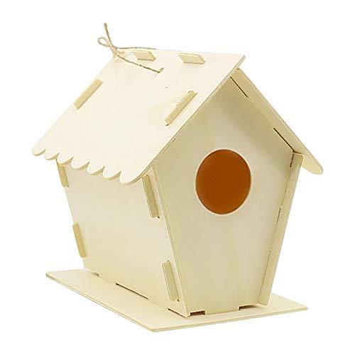 Vogelhaus Nistkasten, Hängend Vogel Haus Vogelhäuschen, Naturholz Bird House Nest Box, Wetterfest Nisthaus Nisthilfe für Meise Rotkehlchen Gartenrotschwanz und Andere Wildvögel (A)