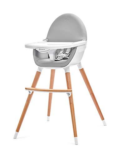 Kinderkracht hoge stoel FINI 2 in 1, kinderstoel, babystoel, combi-hoge stoel, poten van hout, veiligheidsgordels, voetensteun, dubbele tablet, vanaf 6 maanden tot 5 jaar, 5 punts riemen, grijs