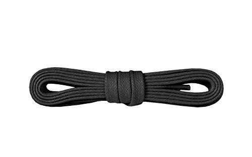 Kaps Gewachste Schnürsenkel für Schuhe & Stiefel, 100% feinste Baumwolle, Breite: 5 mm, Hergestellt in Europa (90 cm – 36 zoll – 5-6 Schnürösenpaare / 91 - Schwarz)