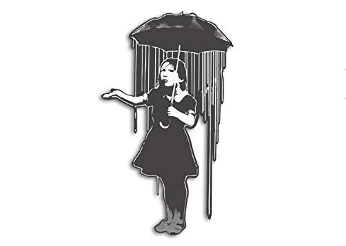 Banksy Sticker mural en vinyle pour graffiti Motif Rain Girl Résistant aux intempéries et aux UV