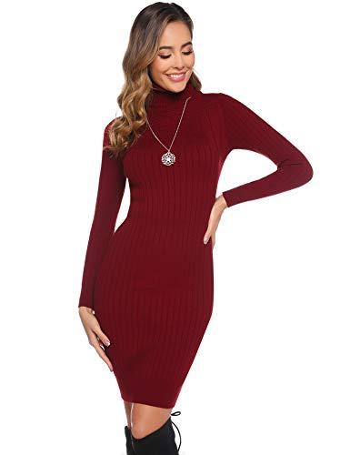 Abollria Vestito Donna Invernali Manica Lunga Vestito Maglione Lungo Aderente con Collo Alto Abito a Maglia per Inverno, Rosso Vino, M