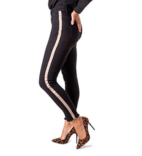 FIRI Damen Jeans mit Galonstreifen Jeanshose Röhrhose High-Waist Übergröße 40-48 (Schwarz Typ C8, 44)