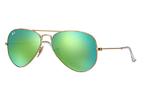 New Ray Ban RB3025 112/19 Aviator Matte Gold/Crystal Green Mirror 58mm Sunglasses