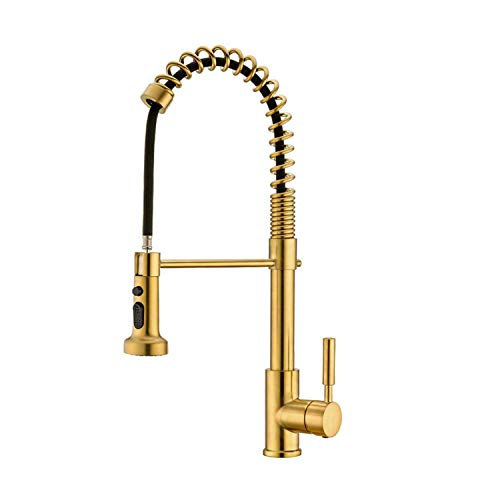 Avola Kitchen Faucet, Kitchen Sink Faucet,Brass Spring Kitchen Faucet with Sprayer, Pull Down Kitchen Faucet, Gold Kitchen Faucet
