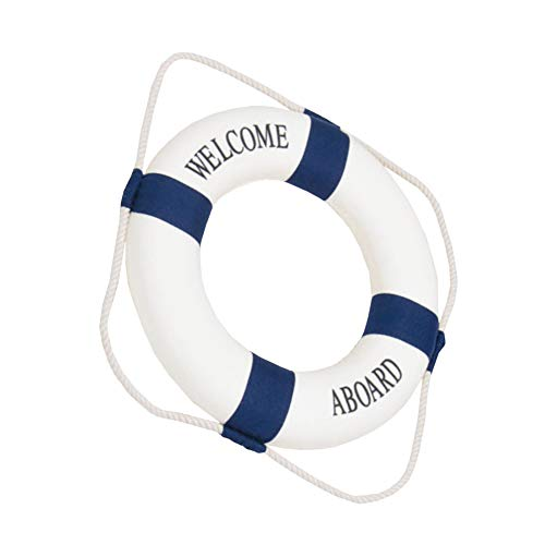 Creative Mini Life Buoy Ring Shape Door and Wall Hanging Ornaments Decoration Arts Home Pendant Decorations 1pc Blue 30cm