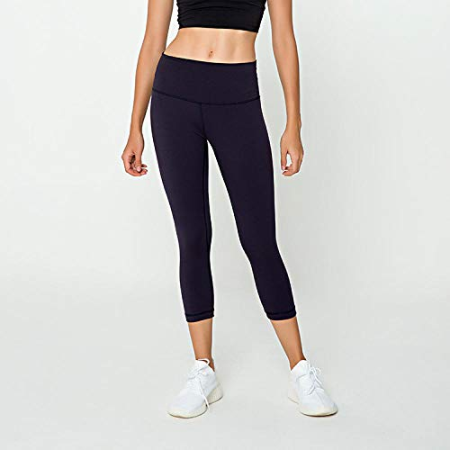 Promworld Flare Hose Sporthose Damen,Nackte doppelseitig gebürstete, kurz geschnittene Hose, Fitness-Yoga-Anzug mit hoher Taille und Mitternachtsblau_S,Taille Laufhose Workout Sporthose für Damen