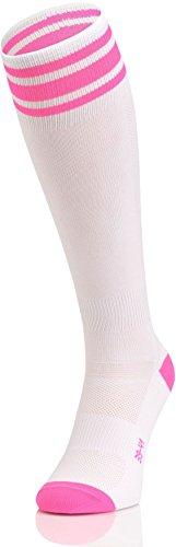 Nessi PR Damen Kniestrümpfe Sportsocken Damensocken Socken Strümpfe Laufsocken Joggingsocken - weiß-rosa, 36-38