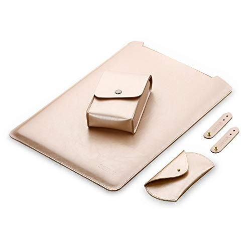 JIANWU Cover, 4 in 1 Laptop Microfiber Leather Inner Bag + Power Bag + Mouse Storage Bag + 2 Winders for MacBook Pro 13.3 inch A1708 (2016-2017) / A1706 (2016-2017) (Color : Gold)