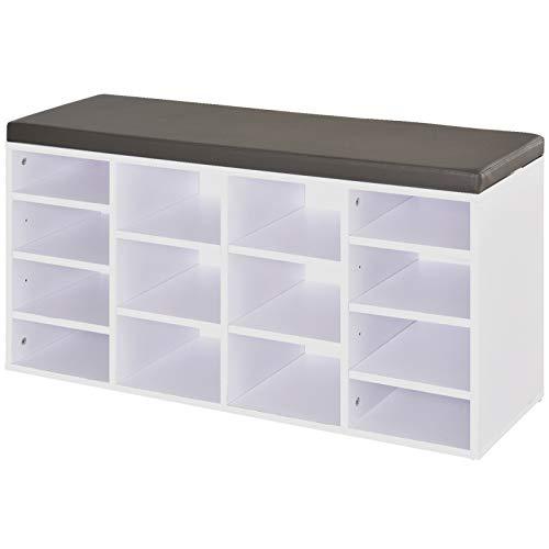Homcom - Zapatero multialmacenamiento con 14 compartimentos, cuadrado, estructura sólida, almohadillas para pies, hogar, oficina, organización, botas de entrenamiento, color blanco