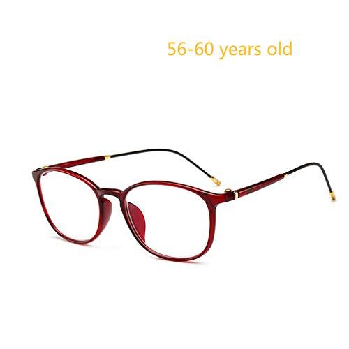 GLASSES Intelligente Lesebrille Weiblich, Nah Und Fern Dual-Use-High-Definition-Alte Brille. Tr90-Material, Einteilige Nasenpolster, Gebogene SchläFen, Federscharniere. (Rot)