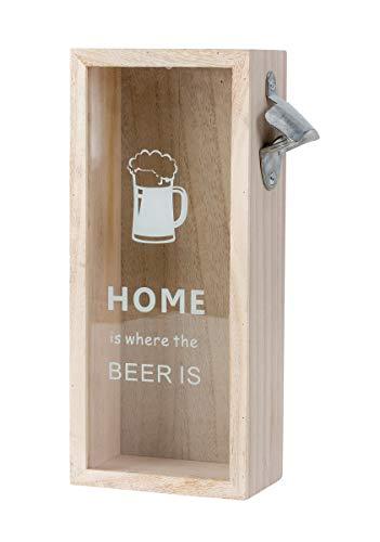 Kronkorkensammler mit Flaschenöffner Holz Wandflaschenöffner Deckelsammler