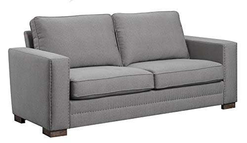 """Serta Hemsley Contemporary Upholstered Sofa with Nail Detailed Trim, Modern Living Room Fabric Couch, Track Arm, 81"""", Soothing Pewter"""