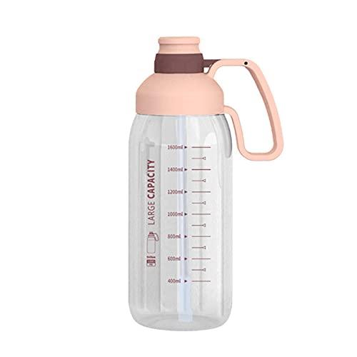DSFSAEG Botella de agua con pajita, botella de agua de gran capacidad de 1800 ml con asa para gimnasio, deportes, camping, senderismo, color rosa
